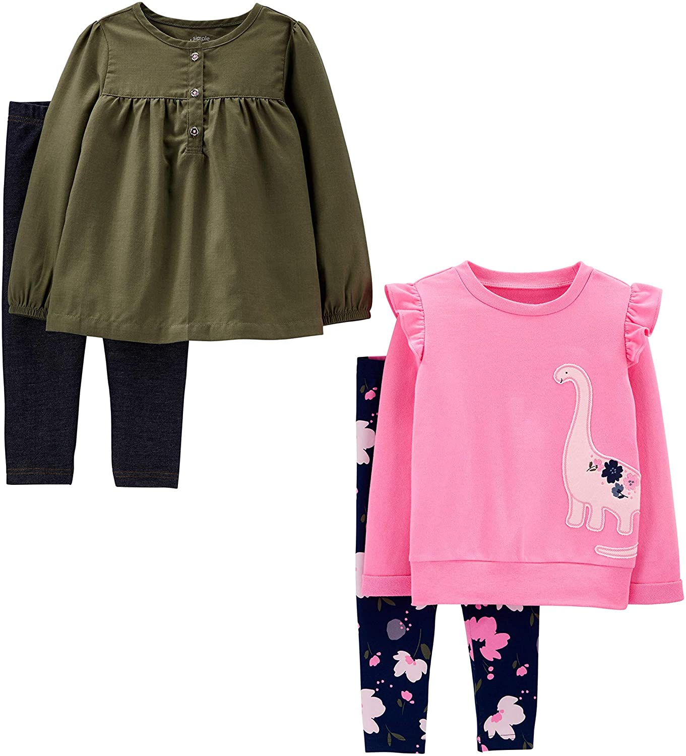 Simple Joys by Carters 4-Piece Long-Sleeve Shirts And Pants Playwear Set Unisex-Bimbi 0-24