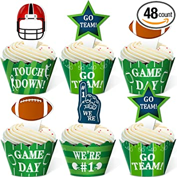 Football Sunday Set Of 12 Football Cupcake Toppers Football Birthday Football Party Decor Football Toppers Super Bowl Cupcake Toppers