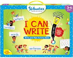 Skillmatics Educational Game: I Can Write (3-6 Years) | Erasable and Reusable Activity Mats with 2 Dry Erase Markers | Learni