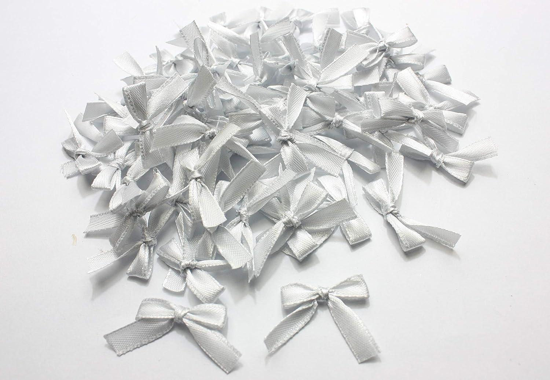 100pcs Mini Ribbon Bow Satin small 25mm DIY sewing decorations wedding Applique Light Blue