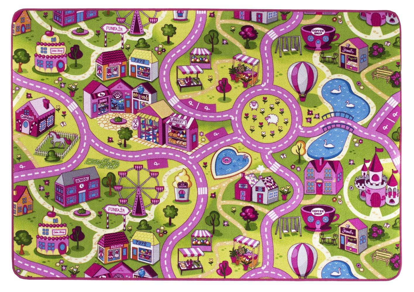 Alfombra de niños Sugar Town, es una de las alfombras de juegos más populares con motivos de calles que garantiza la diversión tanto para niños como para ...