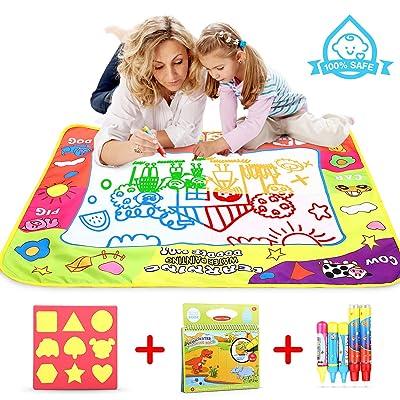 BOOLLY Agua Dibujo Pintura, Alfombra de Agua Doodle, Agua Doodle Esteras Mágicas , Libro Mágico del Dibujo del Agua 5 Bolígrafos para Niño - 80 x 60CM: Juguetes y juegos