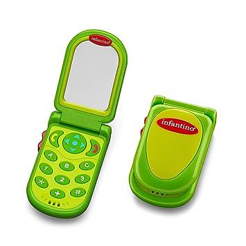 Amazon Com Infantino Flip And Peek Fun Phone Green Baby Toys Baby