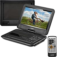 """UEME Portable DVD Player CD Player with 10.1"""" LCD Screen/ Remote Control/ Wall Charger Car Charger/ Canvas Headrest Mount Holder, Personal DVD Player with Built-in Rechargeable Battery PD-1020 (Black)"""