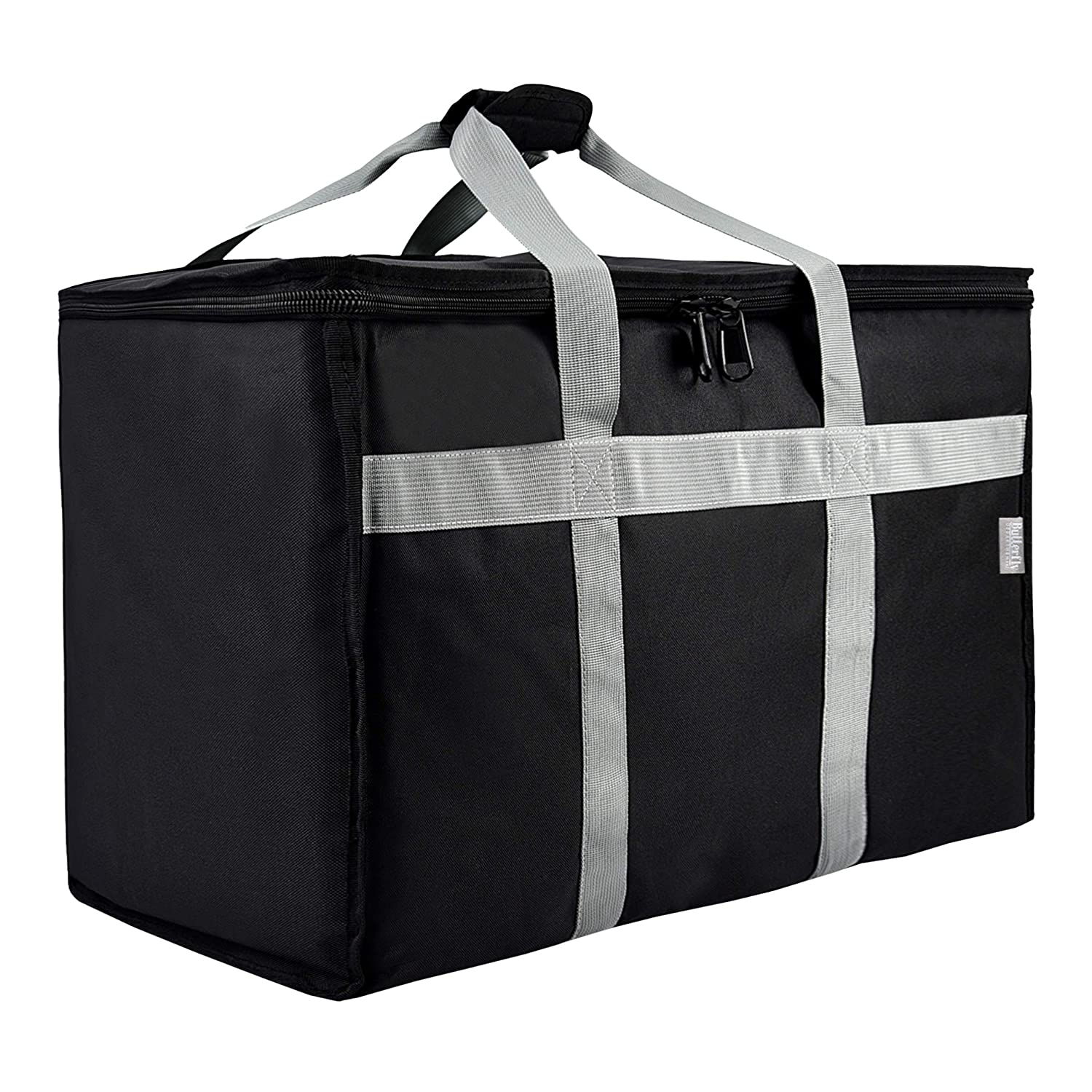 Butterfly Department Insulated Food Delivery Bag - 23x14x15 inches - Water-Resistant Interior - Ideal for Commercial Catering - Reusable Grocery Bag - Professional and Heavy-Duty - XXL - Black