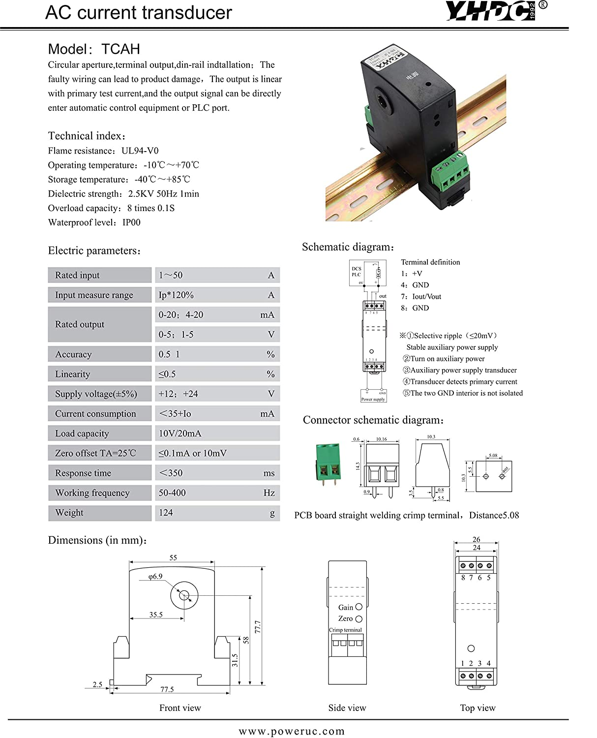 Electrical Equipment & Supplies YHDC AC Current Transmitter TCAH ...