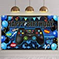 Video Game Happy Birthday Backdrop Game on Birthday Party Backdrop Banner Gaming Theme Party Photography Background Photo Props for Video Game Party Wall Decorations Supplies (Blue)