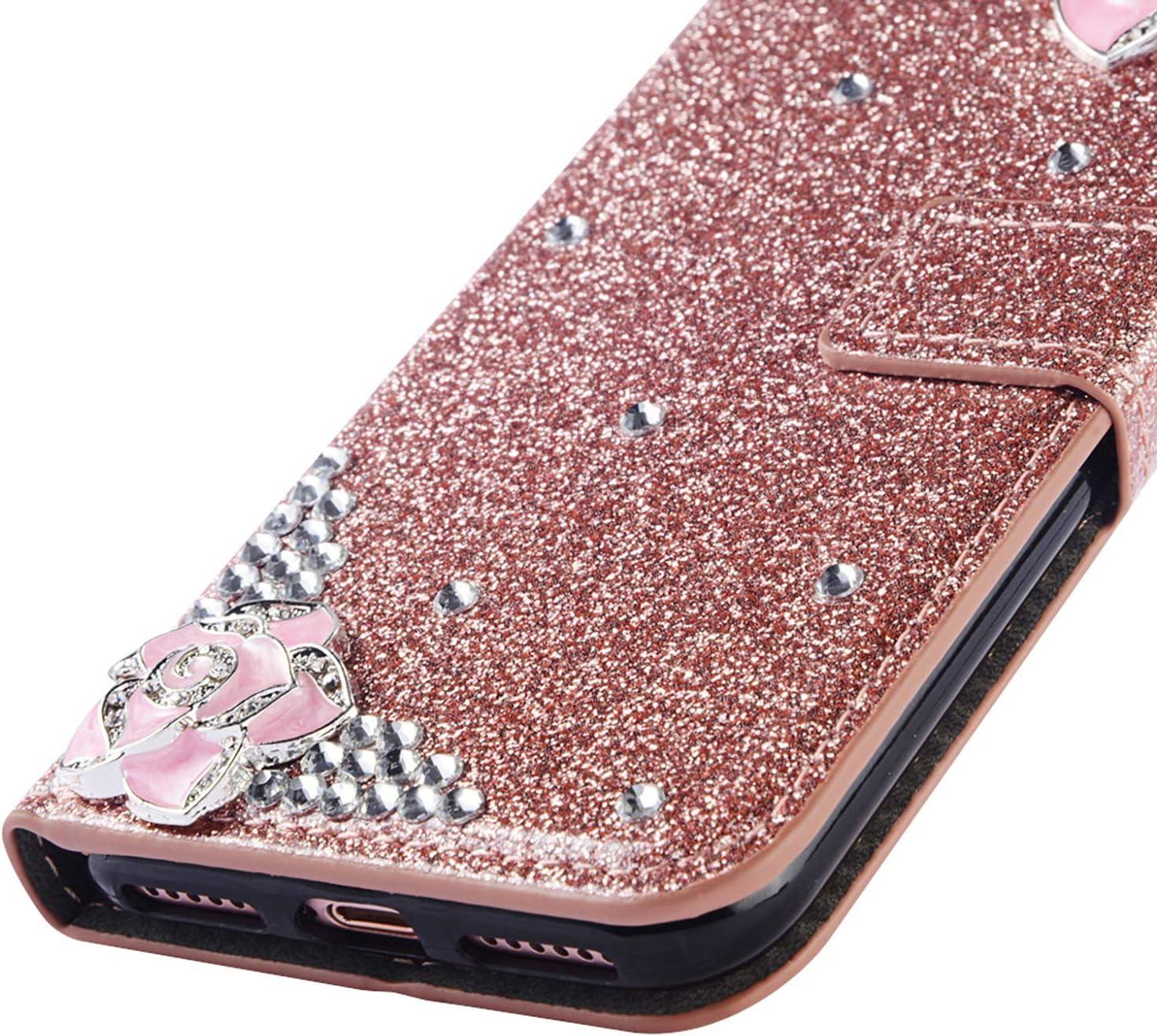 Stand Funktion f/ür iPhone 11,Ledertasche Bling Glitter Glitzer Diamond Love Hearts Musterg Slim Retro Modisch Karteneinschub Magnetverschluss Flip Wallet H/ülle Schutzh/ülle