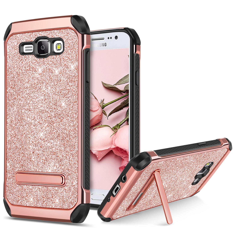 BENTOBEN Phone Case Samsung Galaxy J7 2015/J700, Shockproof Glitter Bling Sparkle Kickstand Cell Phone Case 2 in 1 Heavy Duty Hard PC Soft TPU Bumper Protective Cases Girls, Women - Rose Gold