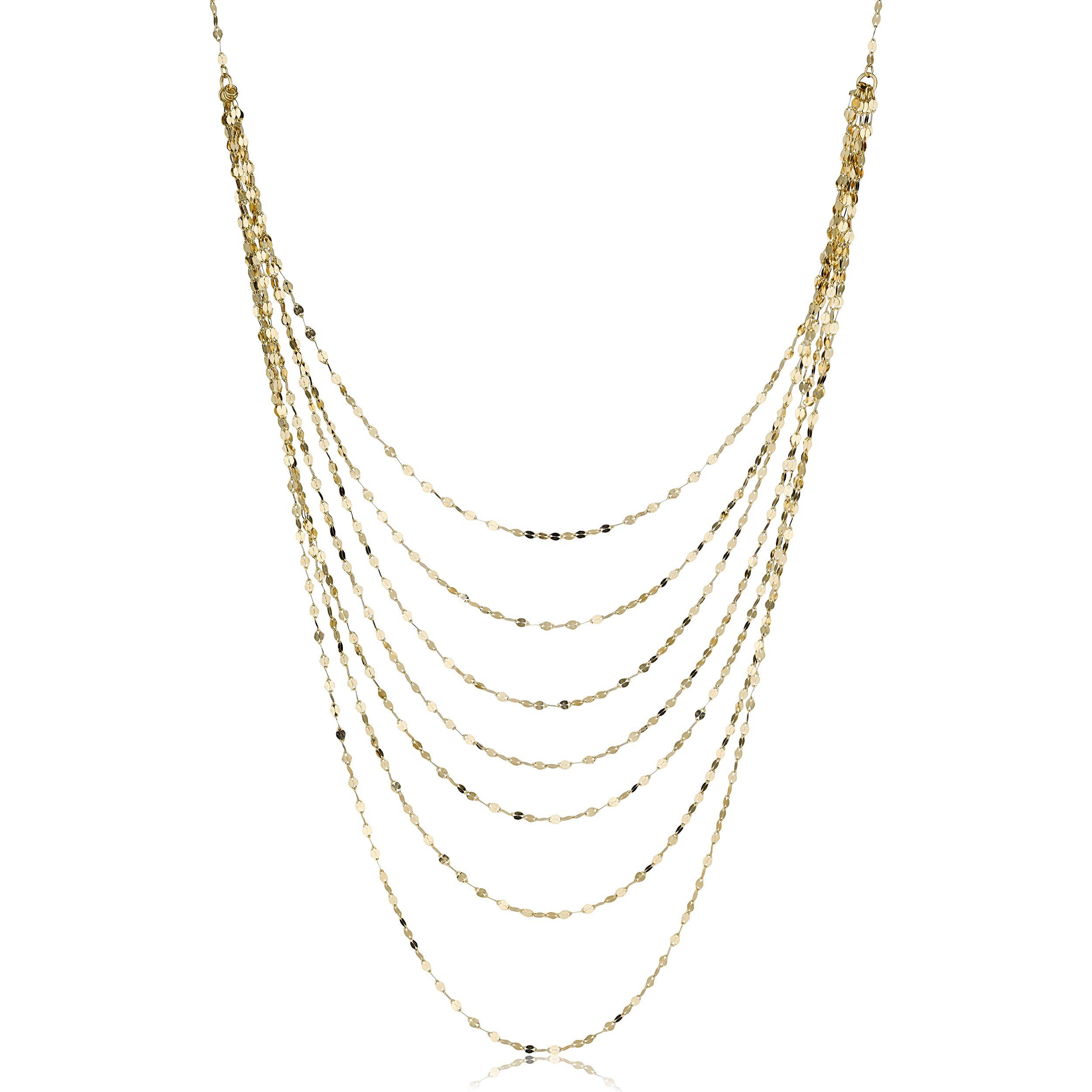 Kooljewelry 14k Yellow Gold Mirror Link Layered Necklace (18 inch) by Kooljewelry