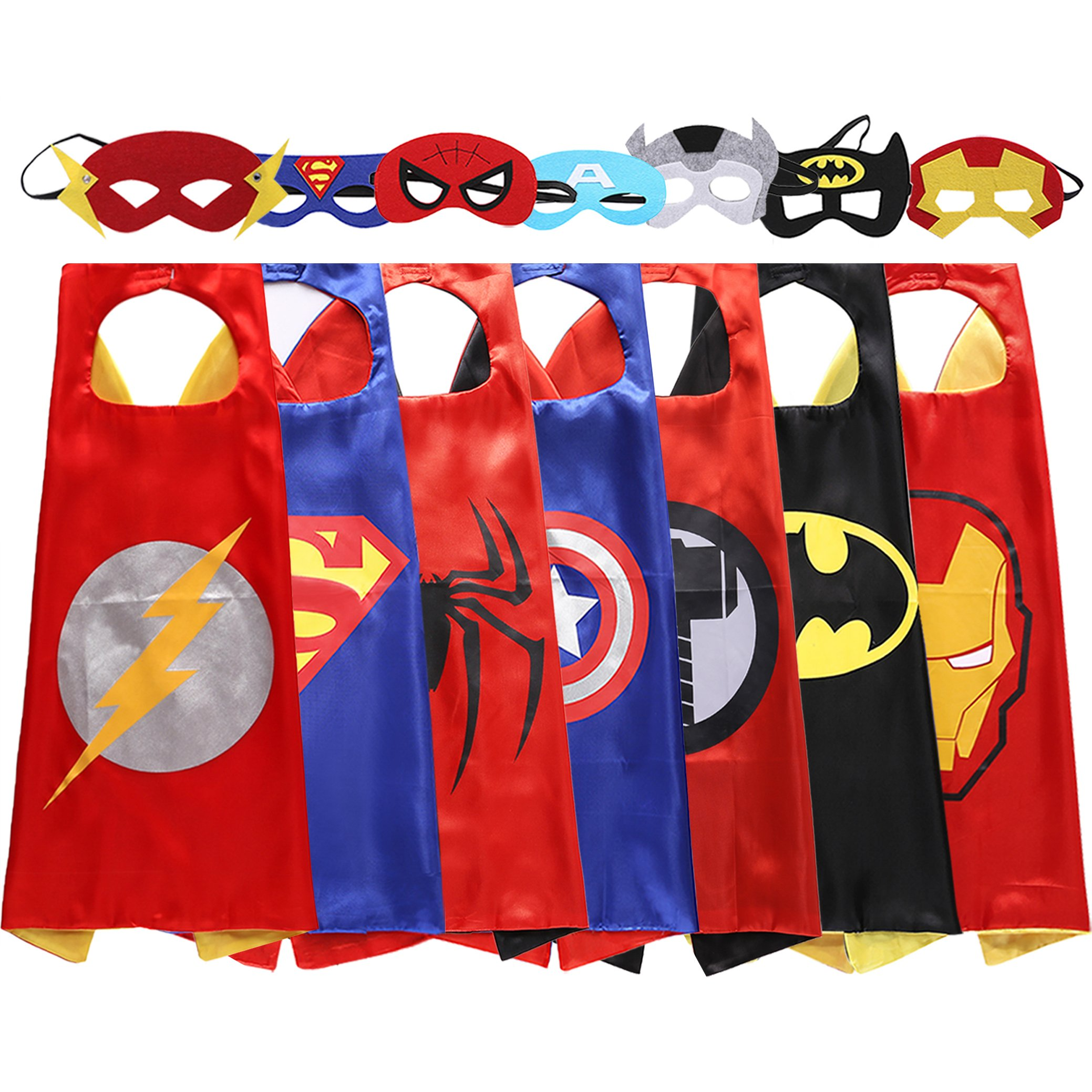 Lazu Superhero Dress up Costumes 7 Satin Capes with Felt Masks (r4)