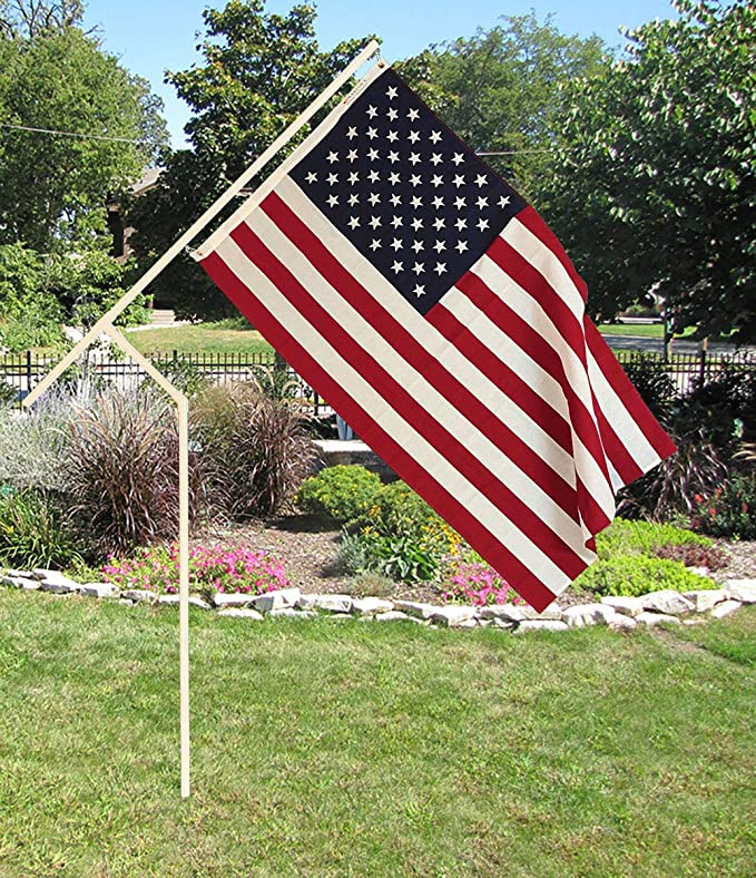White PVC Flagpole, Made in The USA, Includes 3'x5' Made in USA Flag, Great for Camping, Yard, Tailgating and Much More