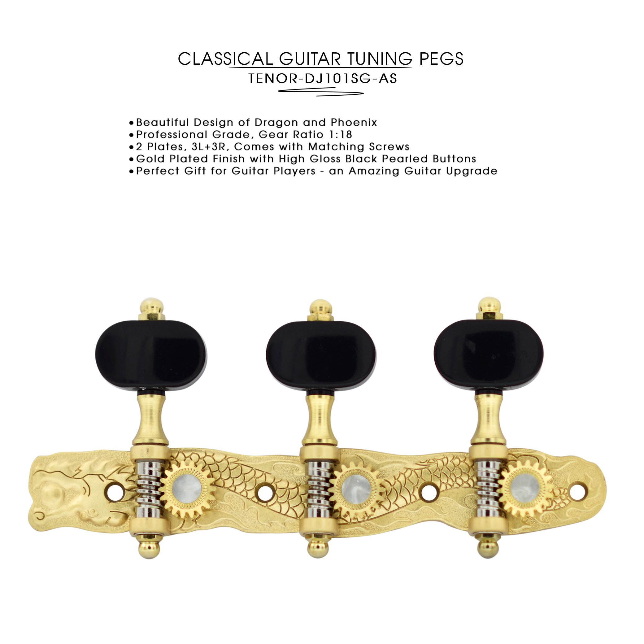 DJ101SG-AS TENOR Classical Guitar Tuners ''Dragon and Phoenix'' Professional Tuning Key Pegs/Machine Heads for Classical or Flamenco Guitar.