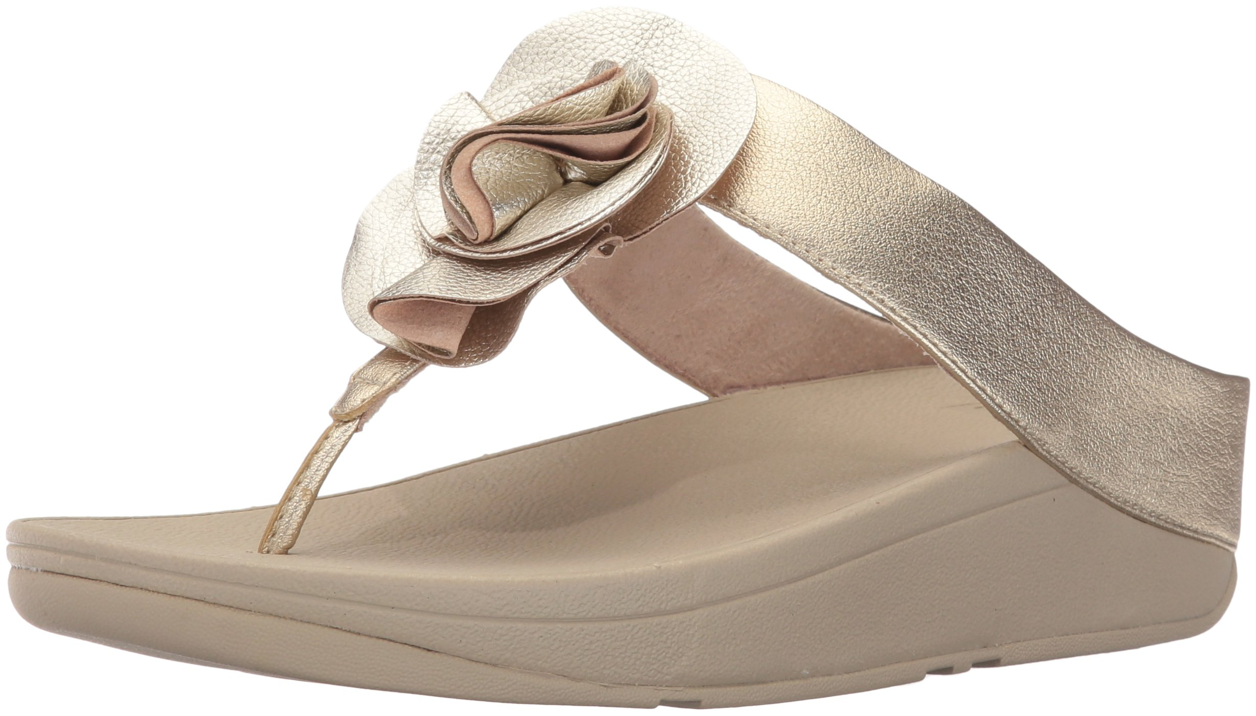 FitFlop Womens Florrie Toe-Thong Sandal, Pale Gold, 8 M US