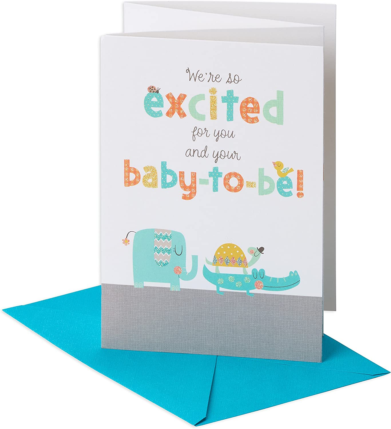 Amazon Com American Greetings Happy Shower Baby Shower Congratulations Greeting Card With Glitter Office Products