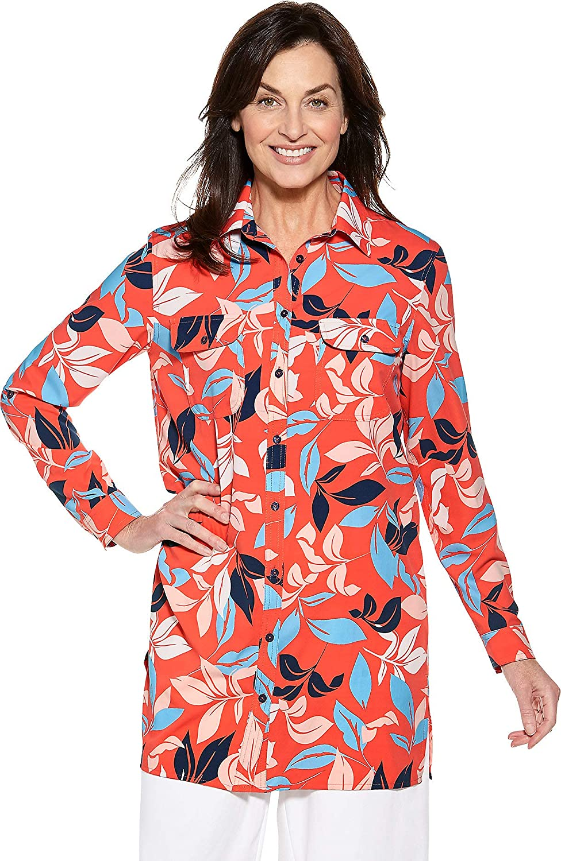 Coral Tropical Island Coolibar UPF 50+ Women's Santorini Tunic Shirt  Sun Predective (Medium Ice bluee)