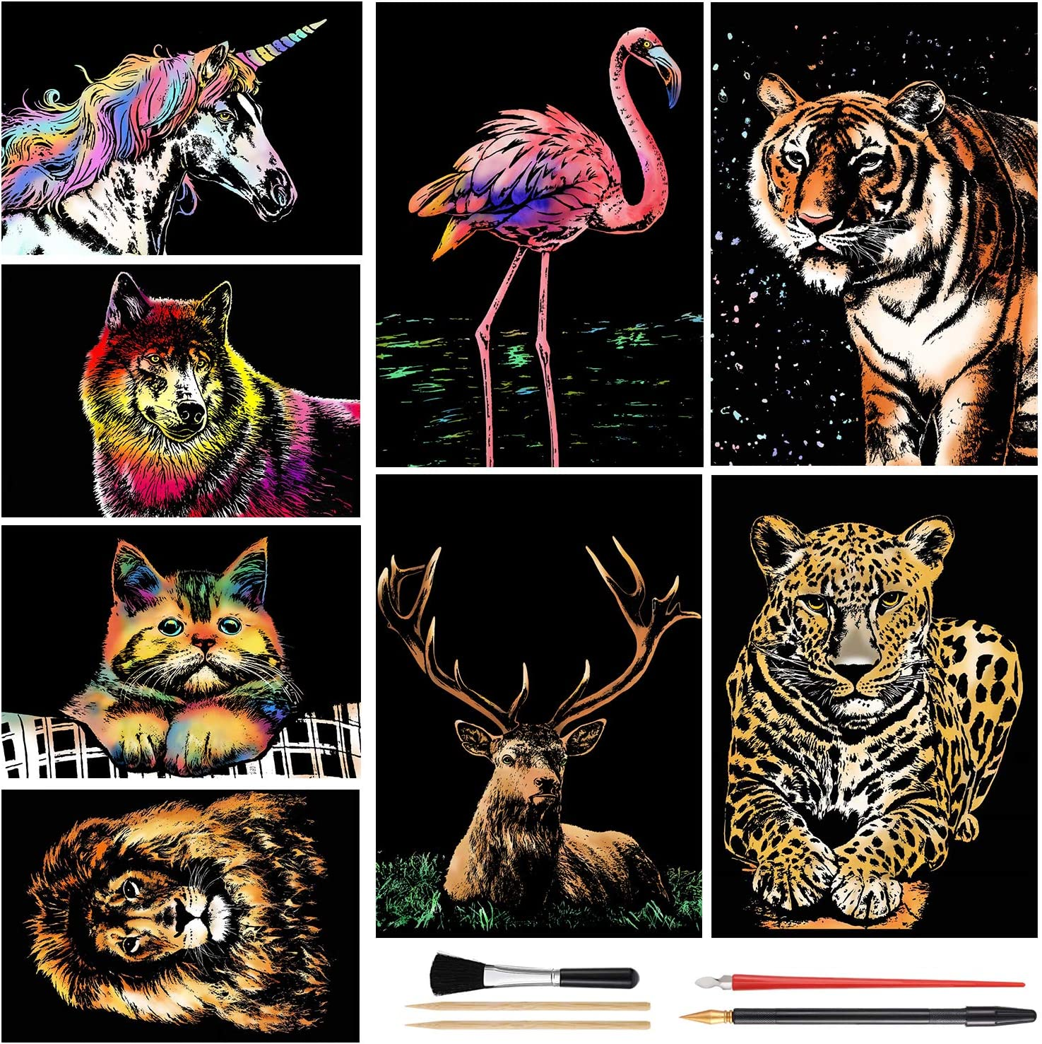 Engraving Art for Kids /& Adults Scratch Painting Easter /& Christmas Birthday Creative Gift Set: 8 Sheets Scratch Art Rainbow Painting Paper Animal DIY Crafts Womens Hobbies A4 Animal Series