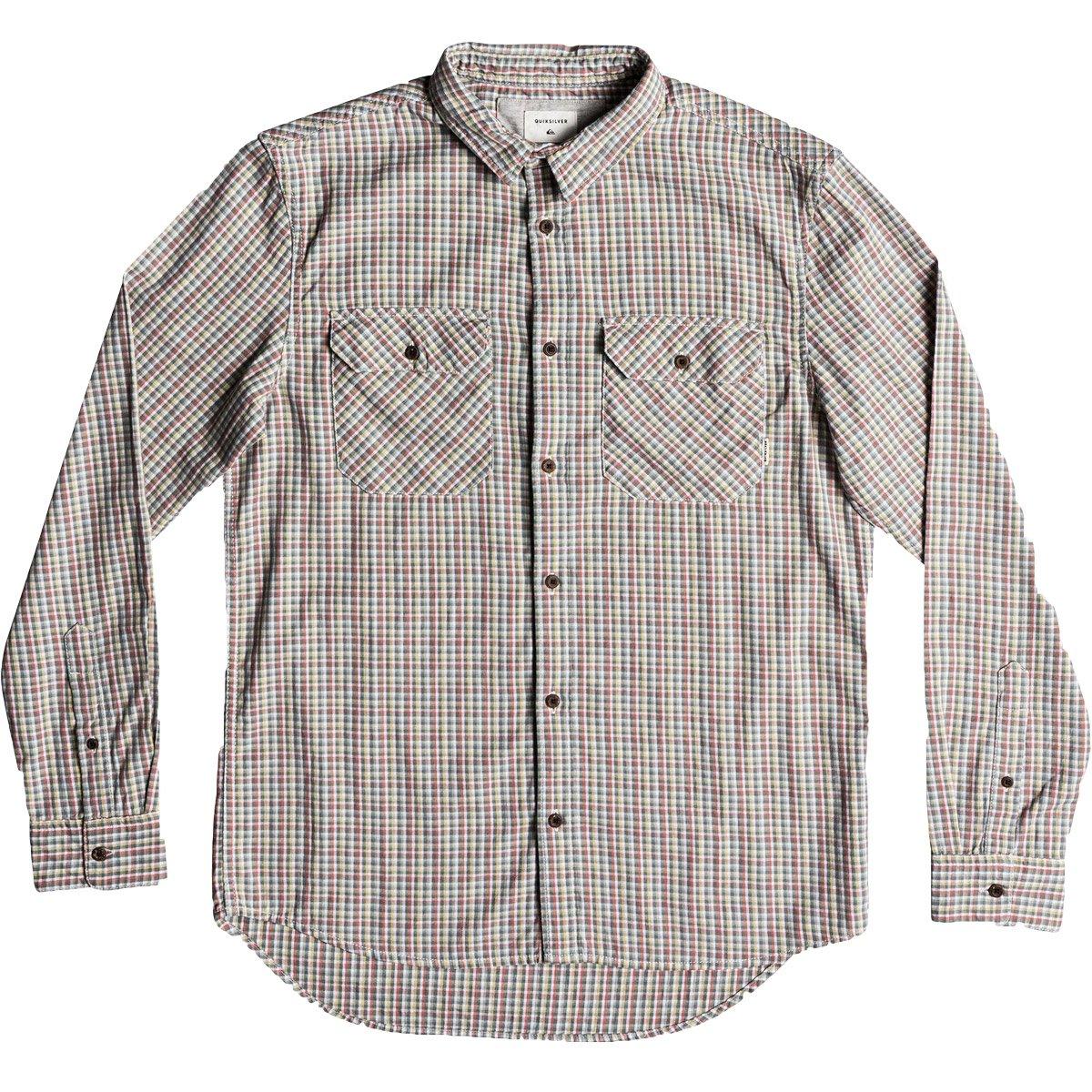 Quiksilver Men's Fuji View Button Down Flannel Shirt, Dark Forest Fuji View, XL