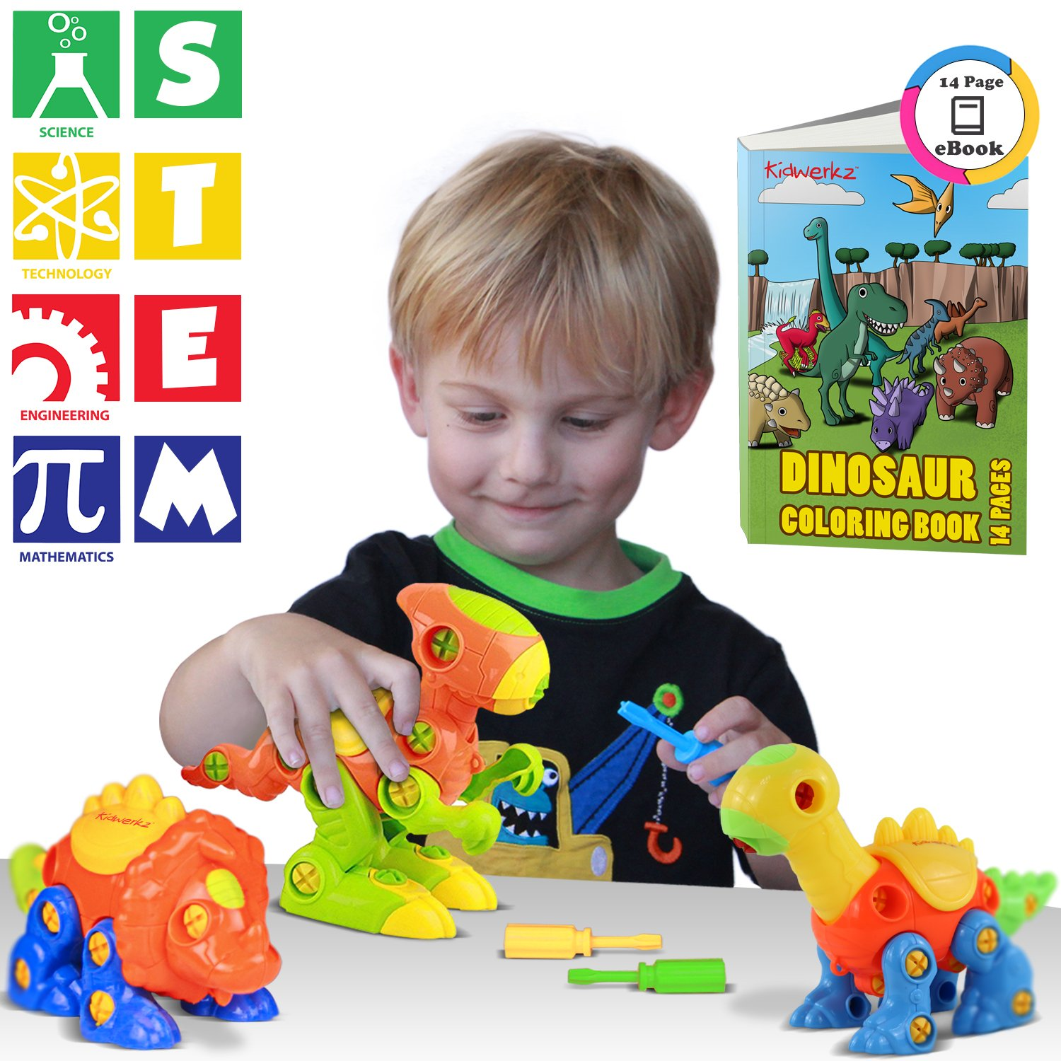 Kidwerkz Dinosaur Toys, STEM Learning (106 pieces), Take Apart Fun (Pack of 3), Construction Engineering Building Play Set For Boys Girls Toddlers, Best Toy Gift Kids Ages 3yr – 6yr, 3 Years and Up Review
