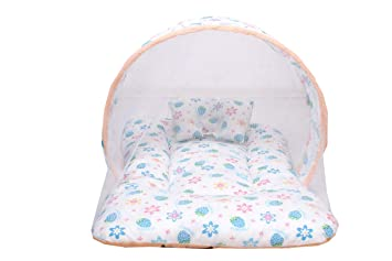 Baby Fly Babys Mosquito Net Bed with Pillow (0-12 Months, Peach and White Colour)