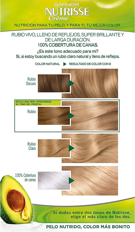 Garnier Nutrisse Creme Coloración Nutritiva Permanente, Tinte 100% Cobertura de Canas con Mascarilla Nutritiva de 4 Aceites - Tono 8 Rubio Claro
