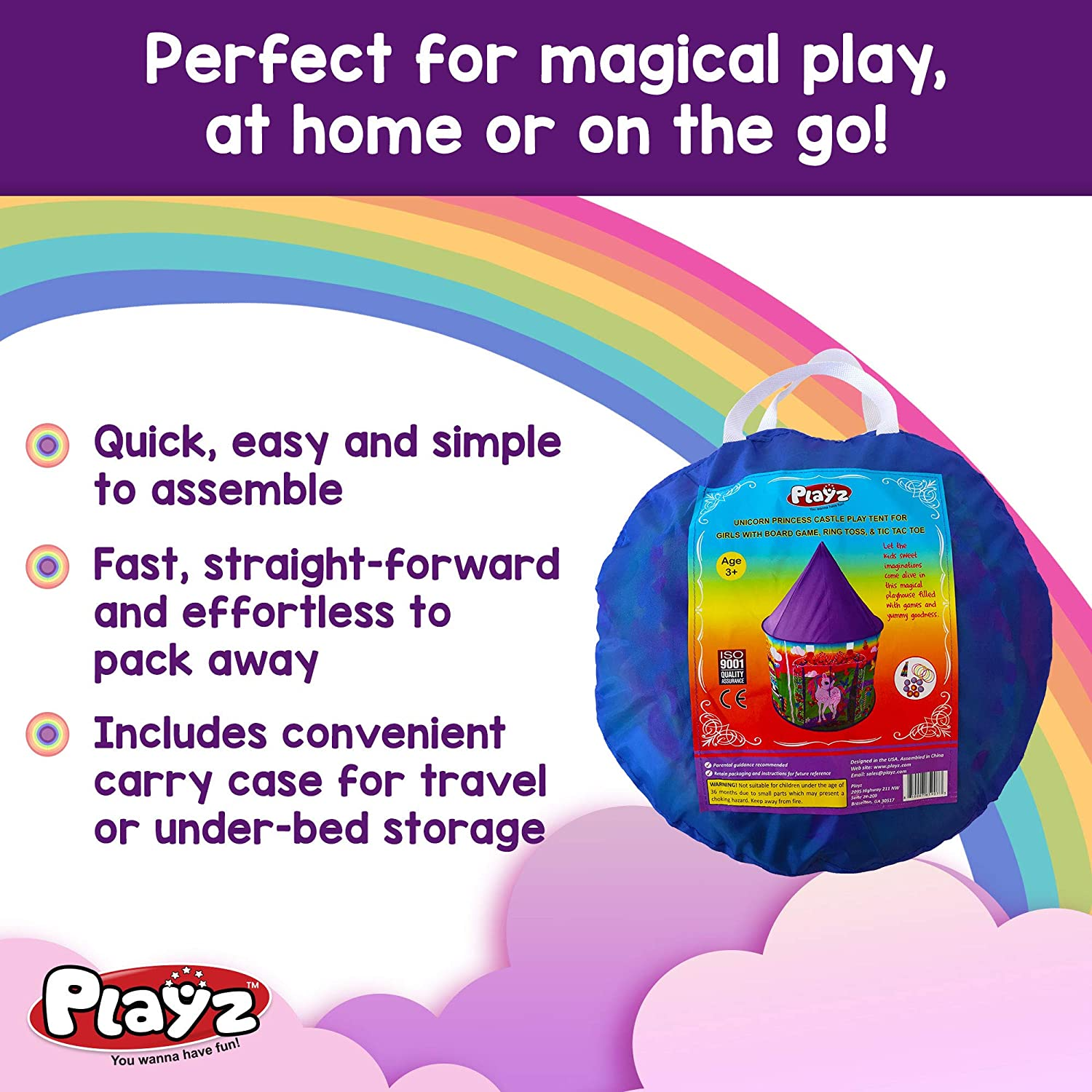 Unicorn Toys for 2 Year Old Girls Indoor Pop up Playhouse Set Gifts for Kids Birthday Party Favors Toddlers Age 1-3 3-5 4-7 Princess Tent with Unicorn Ring Toss Game Kids Castle Play Tent for Girls