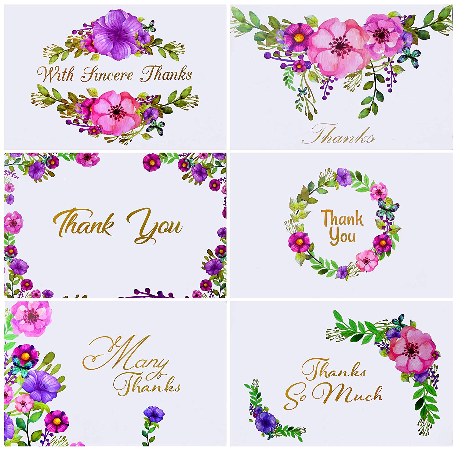 Momenttz Thank You Note Cards - Gold Foil Letters 48 Pack - Blank Greeting Cards & Envelopes - 6 Designs - 4 x 6 in - for Baby & Bridal Shower, Birthday, Graduation, Engagement, Wedding, Corporate Level Up