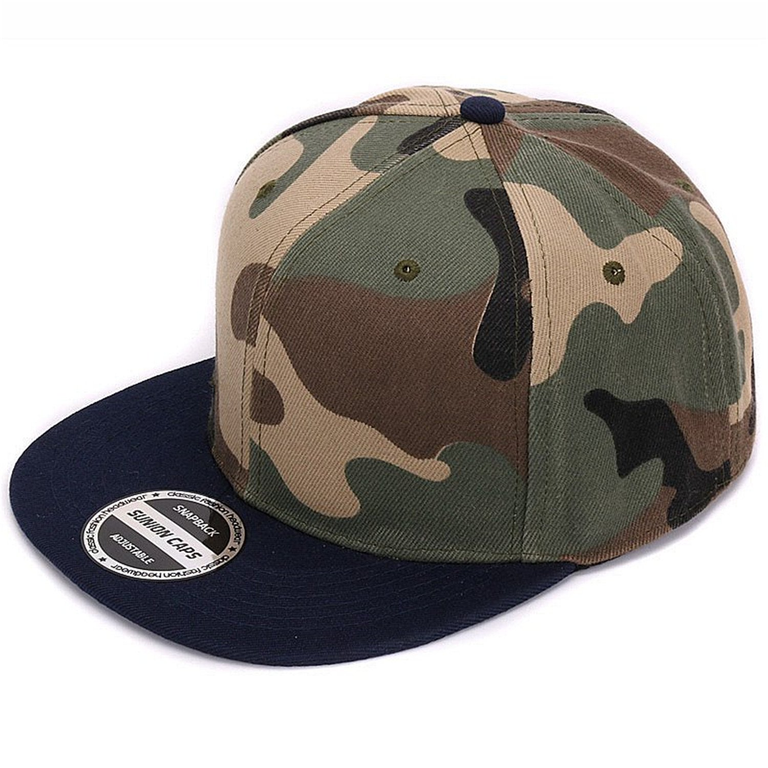 Amazon.com  Camouflage snapback polyester cap blank flat camo baseball cap  with no embroidery mens cap and hat for men and women Navy camo  Health ... a39b5590c73