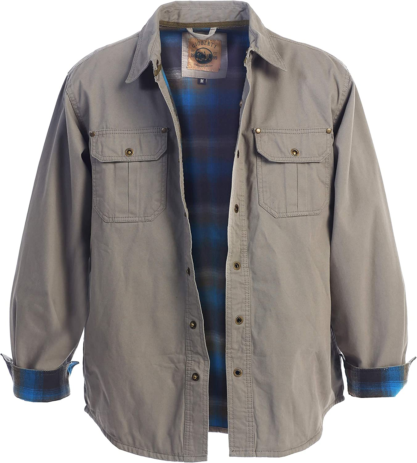 Gioberti Men's Brushed and Soft Twill Shirt Jacket with Flannel Lining