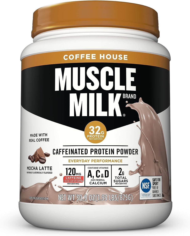 Muscle Milk Coffee House Caffeinated Protein Powder, Mocha Latte, 32g Protein, 1.93 Pound