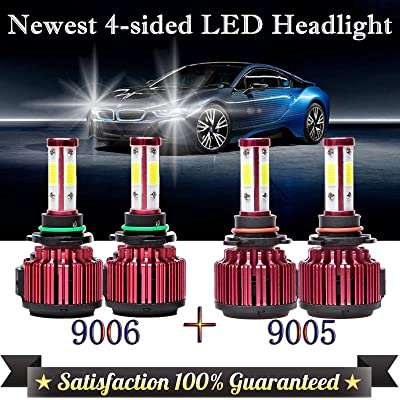 WISWIS 9005+9006 LED Headlight Bulbs 6000K White 4-Side High/Low Beam Combo Set Super Bright for Chevrolet Silverado 1500/GMC/Chevy Tahoe/Dodge/Chrysler/Ford Fog Lamp (9005+9006 (4pcs)): Automotive