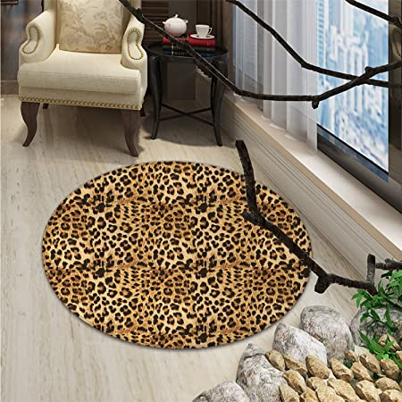 Brown Small Round Rug Carpet Leopard Print Animal Skin Digital Printed Wild African Safari Themed Spotted Pattern Artoriental Floor And Carpets Brown Amazon Co Uk Kitchen Home