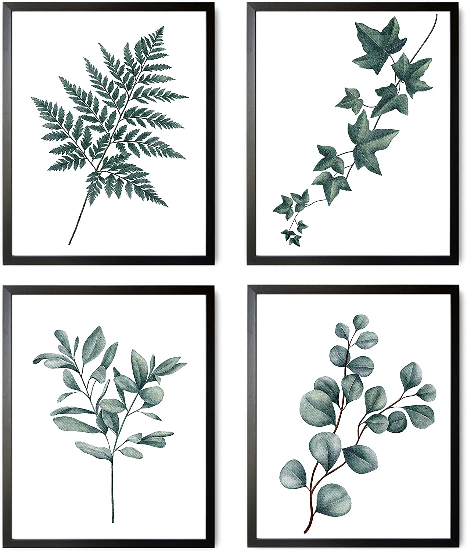 Botanical Wall Art Prints, Plant Wall Art, Minimalist Decor, Plant Prints, Botanical Poster Set, Kitchen Decor Aesthetic, Leaf Art Posters, Sage Green, Eucalyptus Wall Art, UNFRAMED Art Prints (8X10)