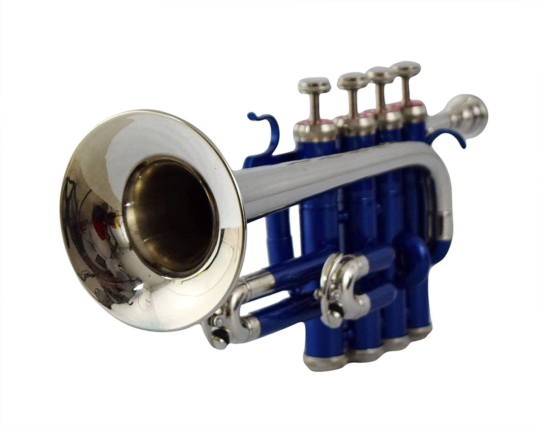 Mejor Marca B Pitch trompeta piccolo con estuche y boquilla, Azul + níquel Colores Patrón de Nasir Ali: Amazon.es: Instrumentos musicales