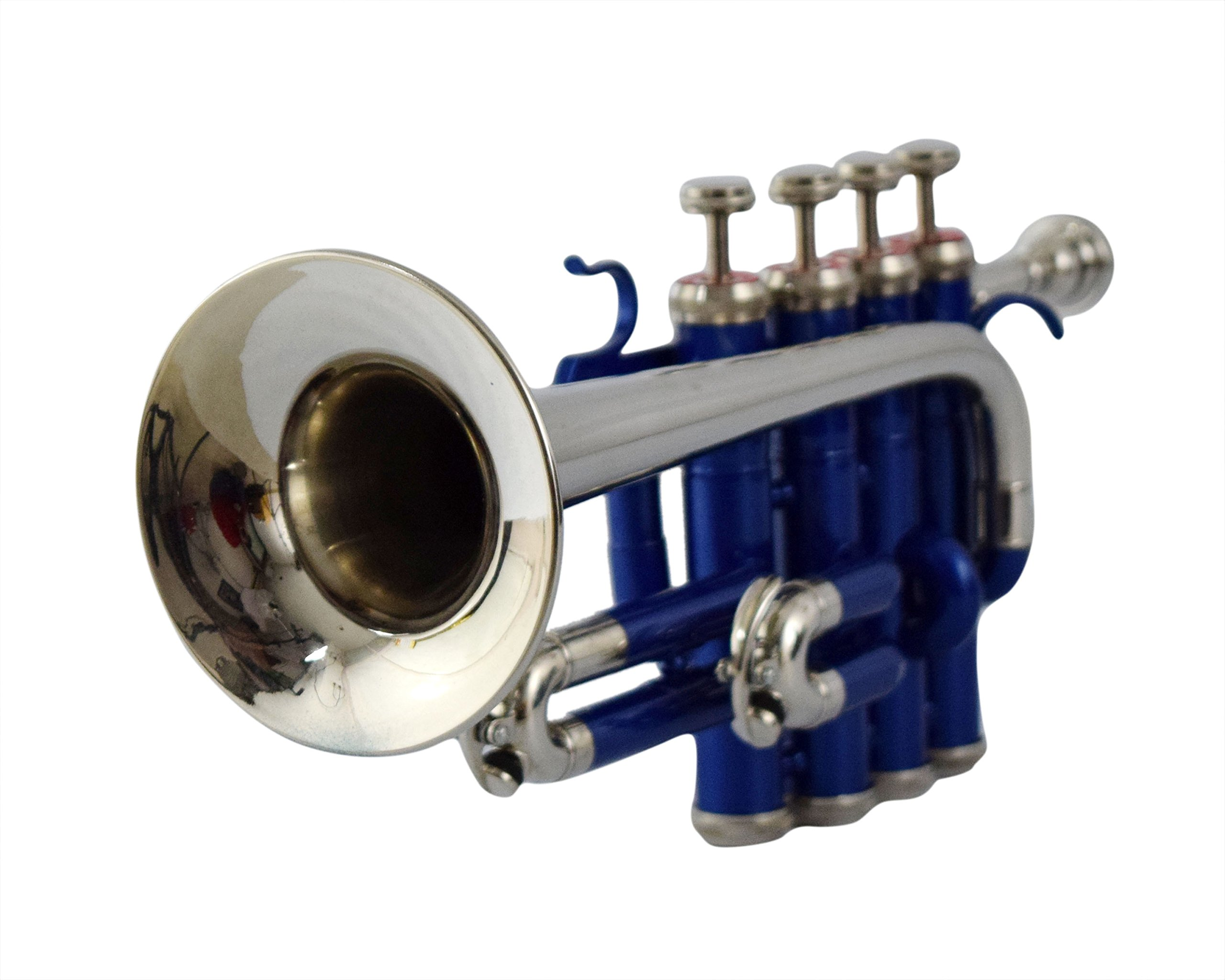 NASIR ALI PROFESSIONAL MODEL PICCOLO TRUMPET Bb PITCH BLUE COLOR + NICKEL WITH CASE AND MP