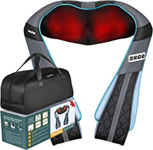 Shiatsu Back Neck Massager with Heat- PerkyPack Deep Tissue Kneading Massager for Neck Back Shoulder Foot Leg- Gift Massager for Women Men Mom Dad- Electric Full Body Massager for Home Office Car Use