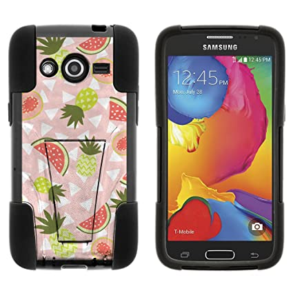 Samsung Galaxy Avant G386t (T-mobile, Metro Pcs) Hybrid Image Dual Layer  Case W/kickstand Cover, Bundle Includes Case+free Screen Protector (FRUIT