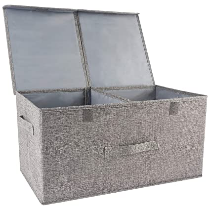 c4dca3c6ed88 Storage Boxes with Lids,Cube Storage Box with Handles,Cotton Fabric  Collapsible Storage Box ,Storage Bins Baskets for Clothes Toys DVDs Art and  Books, ...