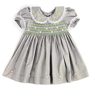 c2ebc93ea sissymini - Lace & Flower Blossom Baby Girls Cotton Hand Smocked Dress | Modern Clay Sage