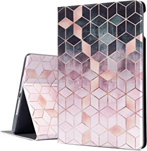 iPad Air/Air 2 Case, Emogins iPad 9.7 Inch Case Protective Cover for Apple 6th/5th Generation, Smart Case with Adjustable Multi-Angle Stand Auto Wake/Sleep Function (Black Pink Marble)