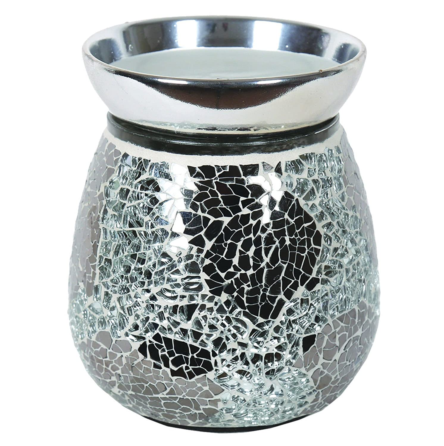 Electric Silver Mirror Mosaic Wax Tart Melt Burner Lamp Scented Aroma Warmer Tooltime®