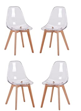Meubletmoi Pack 4 Chaises Transparentes Style Scandinave