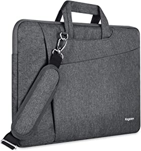 Kogzzen 17 17.3 Inch Laptop Bag Sleeve Case with Shoulder Strap & Handle Waterproof Shockproof Briefcase Carrying Bag Compatible with Notebook MacBook Razer Dell HP Lenovo Acer Asus Samsung - Gray