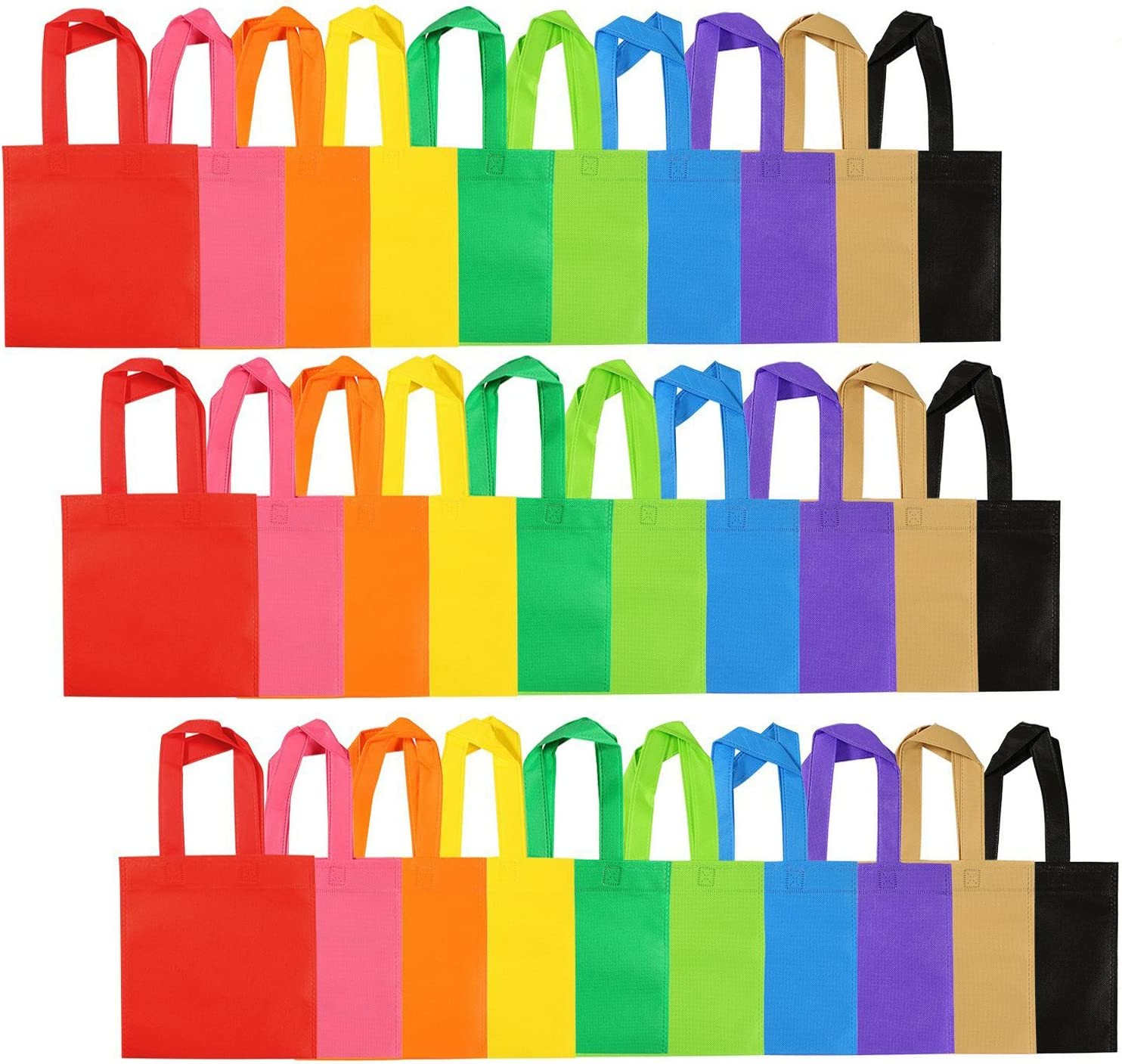 Aneco 40 Pieces Non-woven Treat Bags Goodies Tote Bags Reusable Gift Party Bags Mini Grocery Bags with Handles for Party Favors 8 by 8 Inches