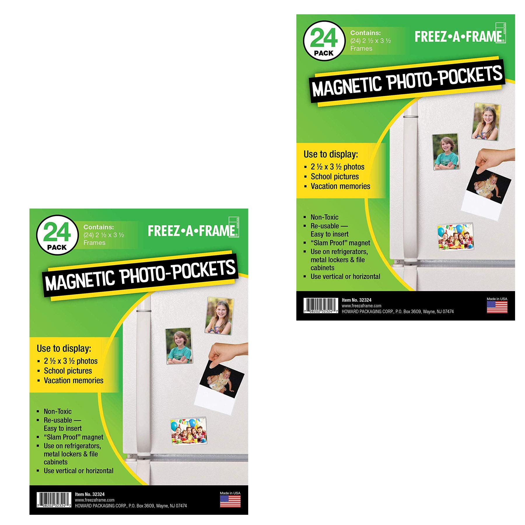 Freez-A-Frame Clear Magnetic Picture Frame Pockets For Refrigerator School Locker, or any Magnetic Surface Holds 2.5'' x 3.5'' Photos - 48 Pack