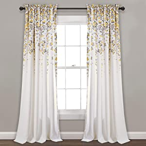 "Lush Decor Weeping Flowers Room Darkening Window Panel Curtain Set (Pair), 84"" x 52"", Yellow and Gray"