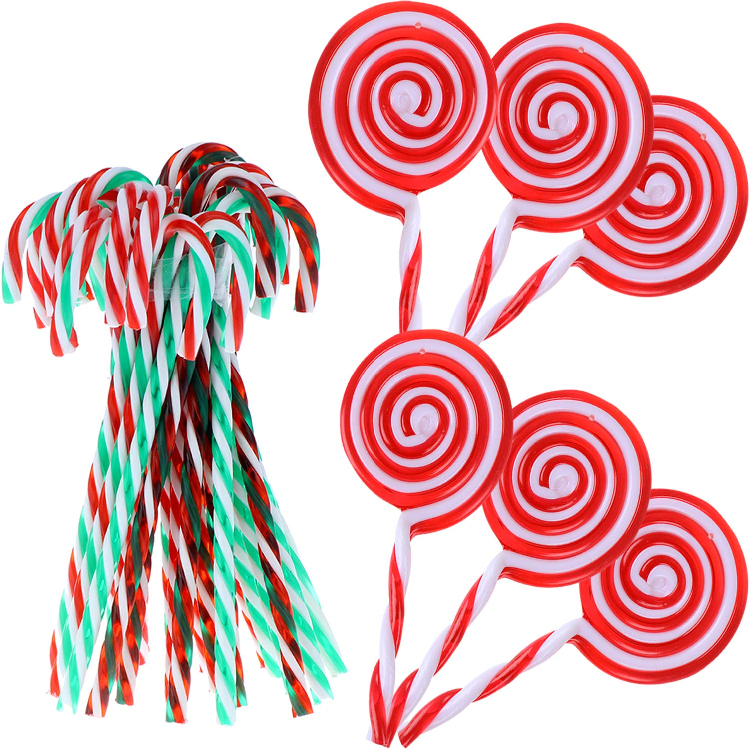 LOCOLO 30Pcs Christmas Plastic Candy Canes Christmas Lollipop Decorations, Sweet Decor for Girls, Boys, Kids, Home, Classroom, Baby Shower Party Supply