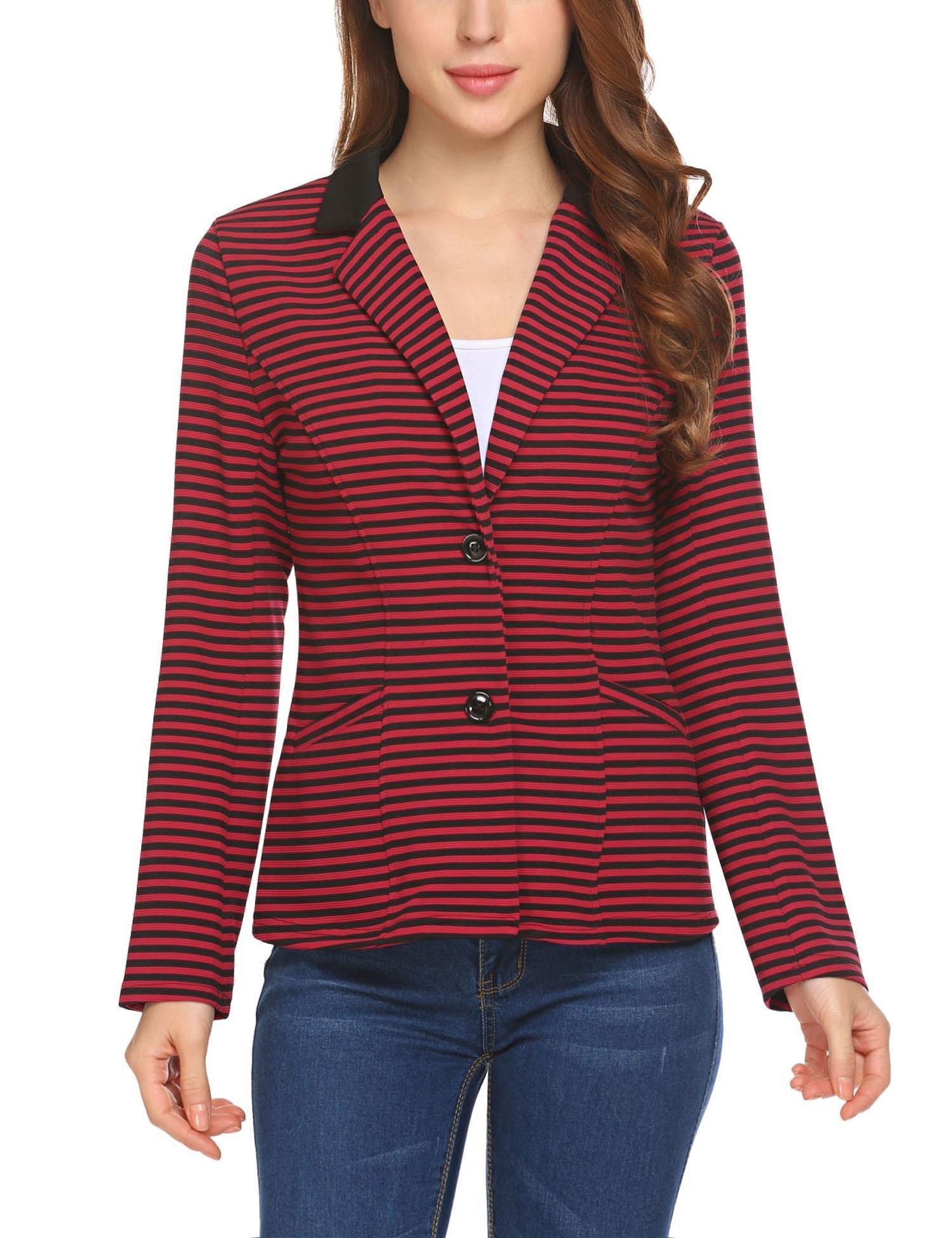 SoTeer Women's Long Sleeve Blazer Striped Button Jacket Suit Outwear Coat Red L