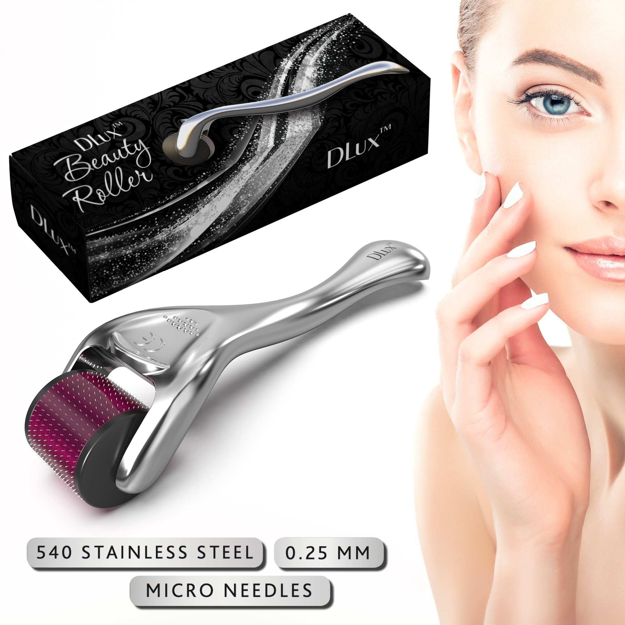 Microneedle Derma Roller with Protective Kit :: New 2018 Model :: Stainless Steel 0.25mm Microneedles :: 540 Exfoliating Needles :: Micro Roller for Face Hair and Acne ::''Deep Purple'' Beauty Roller