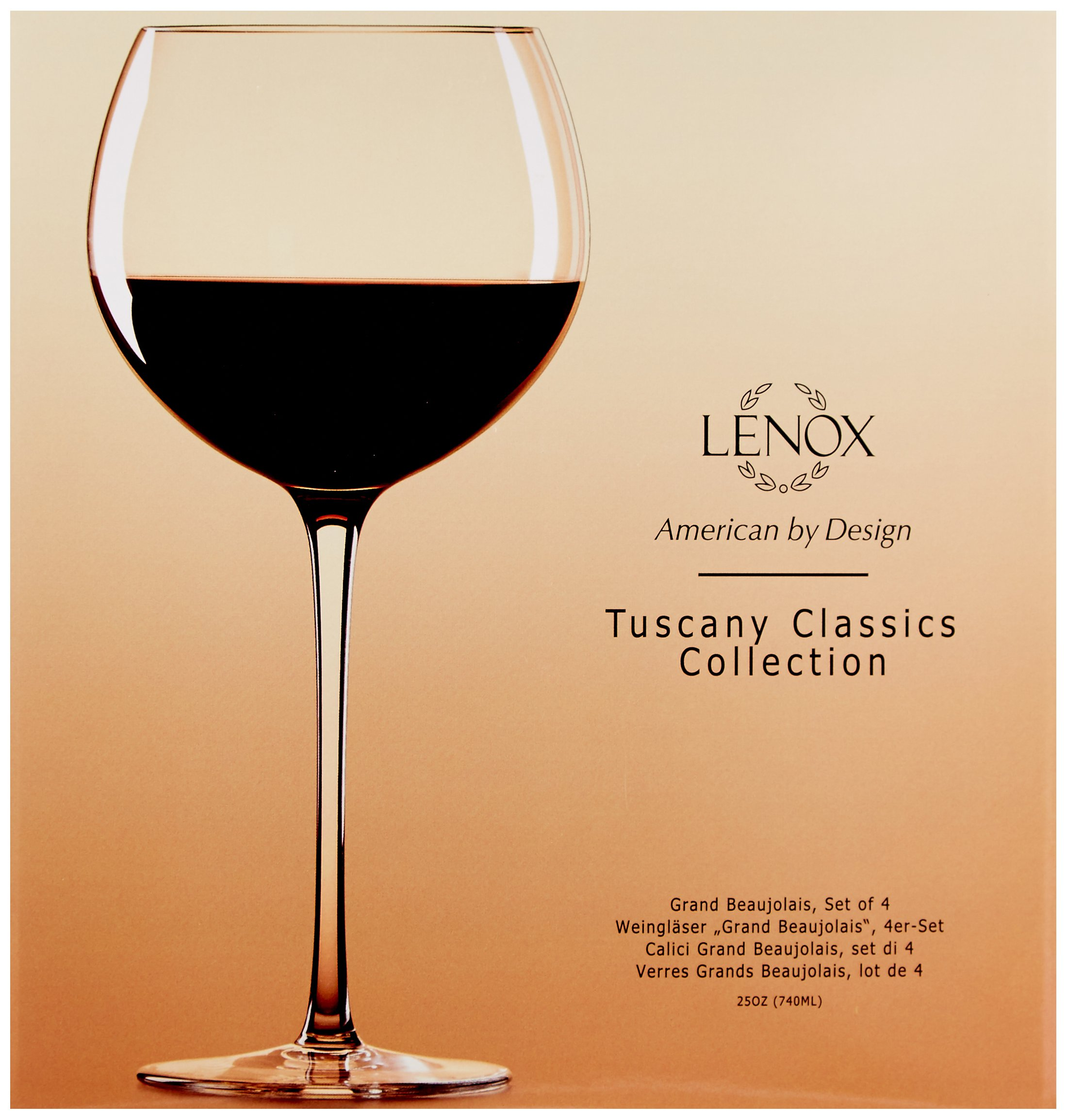 Lenox Tuscany Classics 4pc Beaujolais Wine Glass, 3.05 LB, Clear